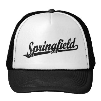 Springfield script logo in black distressed trucker hat