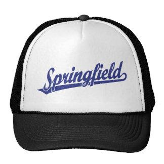 Springfield script logo in blue distressed trucker hat