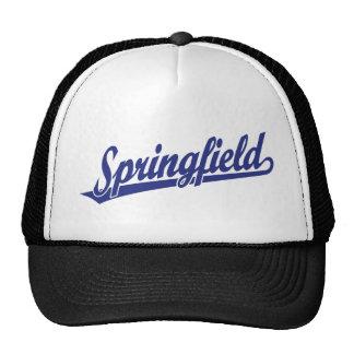 Springfield script logo in blue trucker hat