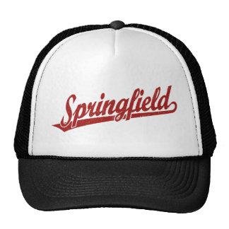 Springfield script logo in red distressed trucker hat