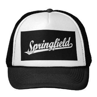 Springfield script logo in white distressed trucker hat