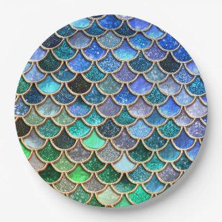 Springlike multicolor Glitter Mermaid Scales 9 Inch Paper Plate