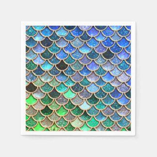Springlike multicolor Glitter Mermaid Scales Disposable Napkin