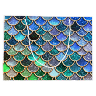 Springlike multicolor Glitter Mermaid Scales Large Gift Bag