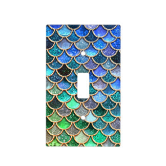 Springlike multicolor Glitter Mermaid Scales Light Switch Cover