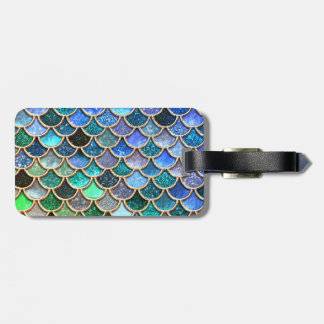 Springlike multicolor Glitter Mermaid Scales Luggage Tag