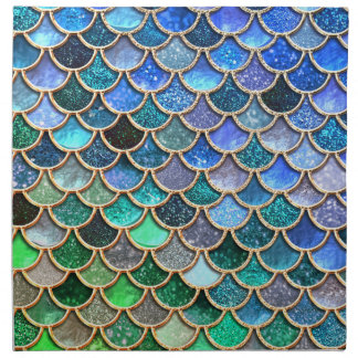 Springlike multicolor Glitter Mermaid Scales Napkin
