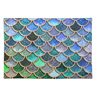 Springlike multicolor Glitter Mermaid Scales Placemat