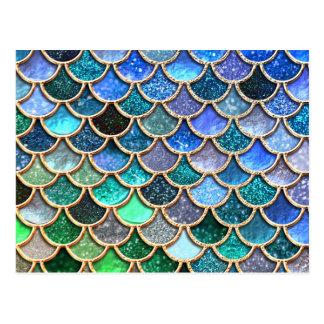 Springlike multicolor Glitter Mermaid Scales Postcard