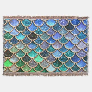 Springlike multicolor Glitter Mermaid Scales Throw Blanket
