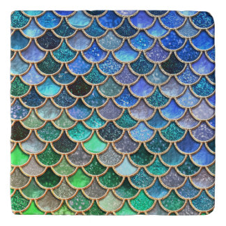 Springlike multicolor Glitter Mermaid Scales Trivet