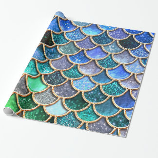 Springlike multicolor Glitter Mermaid Scales Wrapping Paper