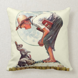 Springtime, 1935 boy with bunny throw pillow
