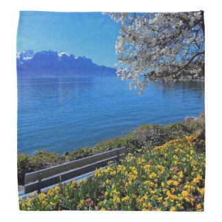 Springtime at Geneva or Leman lake, Montreux, Swit Bandana