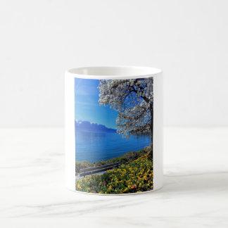 Springtime at Geneva or Leman lake, Montreux, Swit Coffee Mug