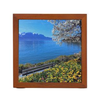 Springtime at Geneva or Leman lake, Montreux, Swit Desk Organizer