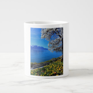 Springtime at Geneva or Leman lake, Montreux, Swit Large Coffee Mug