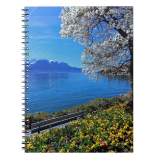 Springtime at Geneva or Leman lake, Montreux, Swit Notebooks