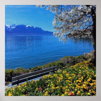 Springtime at Geneva or Leman lake, Montreux, Swit Poster