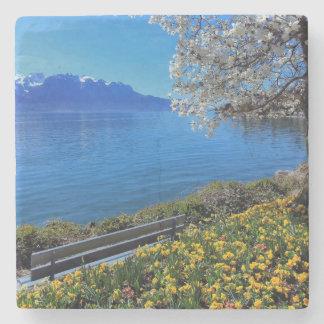 Springtime at Geneva or Leman lake, Montreux, Swit Stone Coaster
