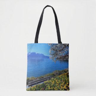 Springtime at Geneva or Leman lake, Montreux, Swit Tote Bag