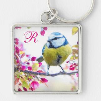 Springtime Bird Monogram Keychain