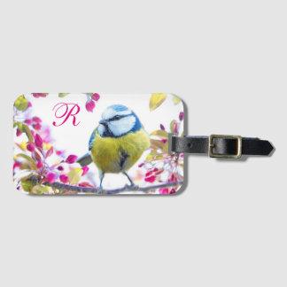 Springtime Bird Monogram Luggage Tag