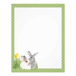 Springtime Bunnies in Flowers Letterhead