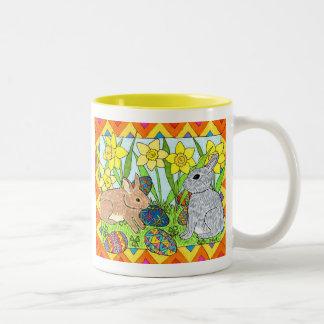 Springtime Bunnies with Oaxacan Eggs Two-Tone Coffee Mug