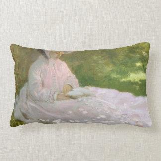 Springtime by Claude Monet Lumbar Pillow