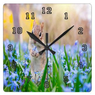 Springtime Chipmunk Square Wall Clock