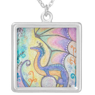 Springtime Dragon Silver Plated Necklace