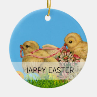 Springtime Easter Chicks Round Ceramic Ornament
