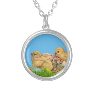 Springtime Easter Chicks Silver Plated Necklace