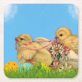 Springtime Easter Chicks Square Paper Coaster