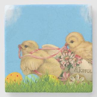 Springtime Easter Chicks Stone Coaster