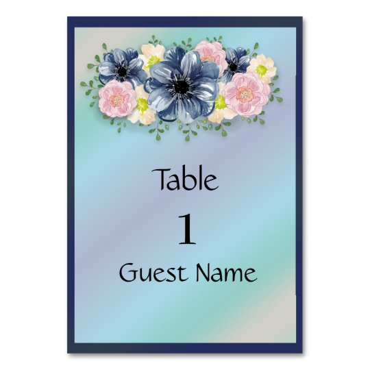 Springtime Floral on Navy Blue Wedding Place Card