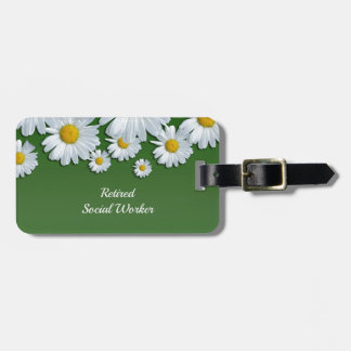 Springtime Flowers, White and Yellow Daisies Luggage Tag
