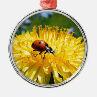 Springtime Ladybird on Dandelion Silver-Colored Round Ornament
