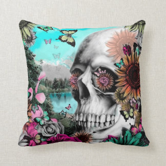 Springtime Landscape Skull with butterflies Throw Pillow