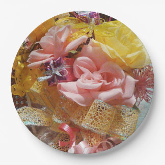 Springtime Pink Roses & Yellow Bow Paper Plates 9 Inch Paper Plate