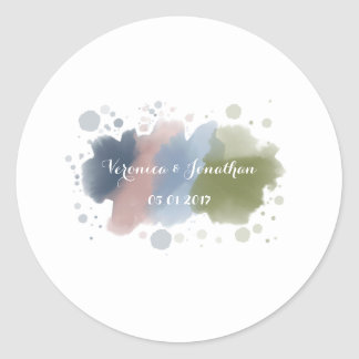 Springtime Showers Speckled Watercolor Round Sticker
