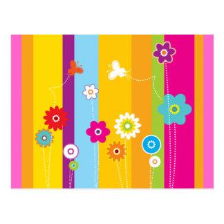Springtime Stripes and Flowers Postcard