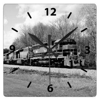 Springtime Train B&W Square Wall Clock