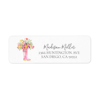 Springtime Tulips Floral Return address