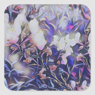 Springtime Wildflowers in Mauve Paper Collection Square Sticker