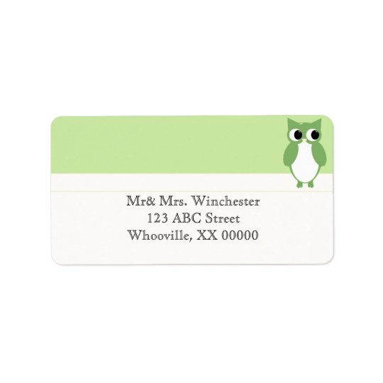 Springy Green Owl Label