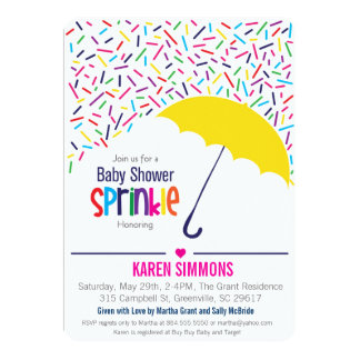 Sprinkle Baby Shower Invitation, Raining Umbrella Card