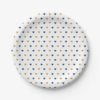 Sprinkle Hearts (Navy/Gold) Paper Plate