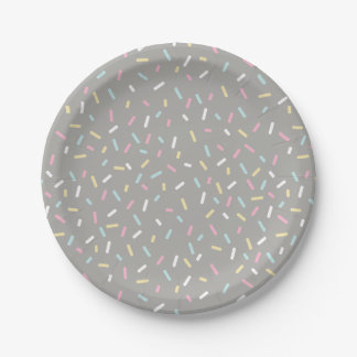 Sprinkle Party Plate (gray) 7 Inch Paper Plate